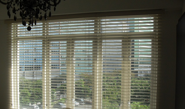 Partially Open, Elegant Faux wood Blinds at McKinley Hill, Taguig