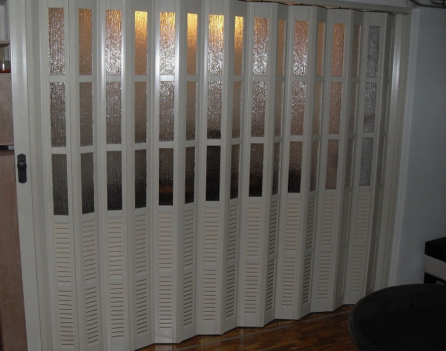 White Ash French PVC Accordion Door