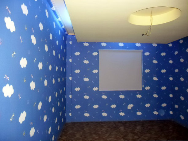 Beautiful Blue Vinyl Wallpaper Installed in San Juan, Manila, Philippines