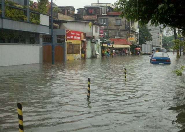 Makati Area Flood Caused by Typhoon Maring
