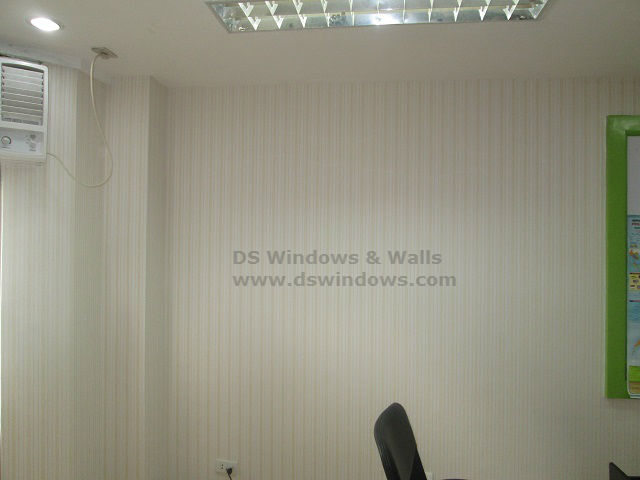 Vertical Stripes of Wallpaper Installed in Office