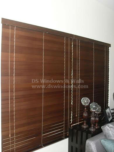 Elegant Wood Blinds in Living Area
