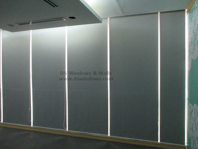 blackout roll up blinds as commercial building window covering ortigas avenue pasig city philippines