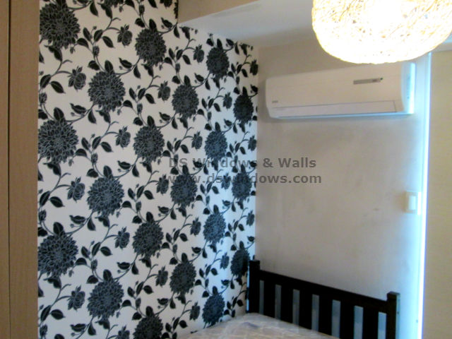 Black & White Vinyl Wallpaper Installed in Small Bedroom