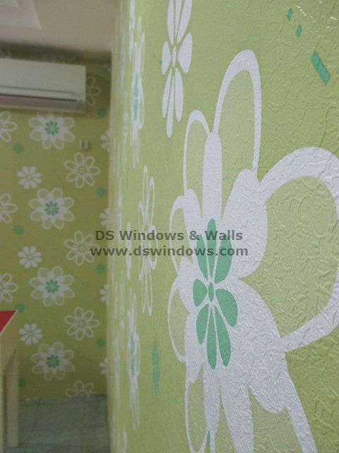 Floral Green Vinyl Wallpaper installed at U.N. Avenue, Ermita Manila
