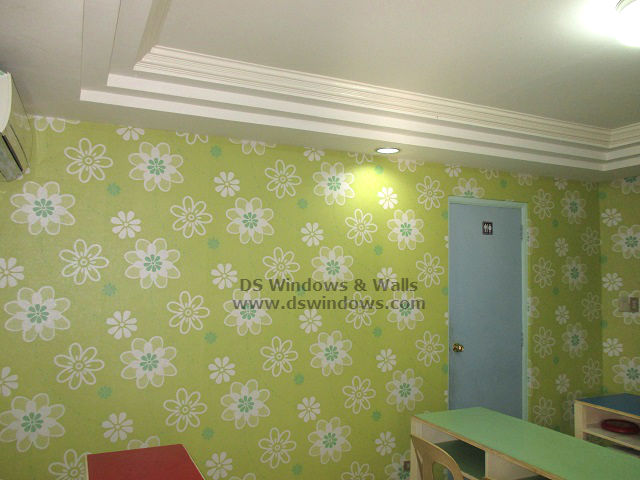 Floral Green Vinyl Wallpaper Decor For Children Academic Center