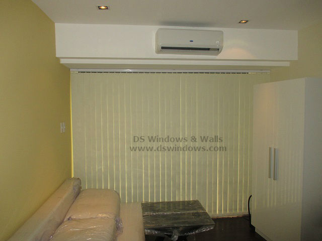 Blackout Cream Fabric Vertical Blinds install at Mandaluyong City, Philippines
