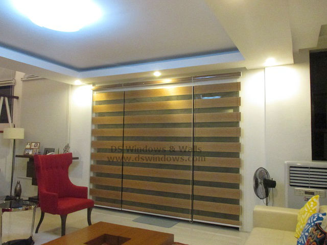 duo shade blinds with acetate valance on modern living room: san