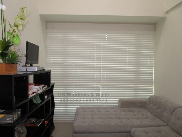 White Wood Blinds Condo Living