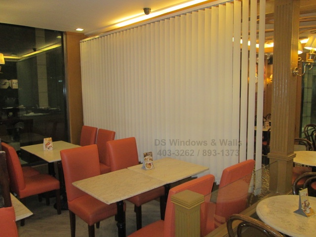 Fabric Vertical Blinds Coffee Shop