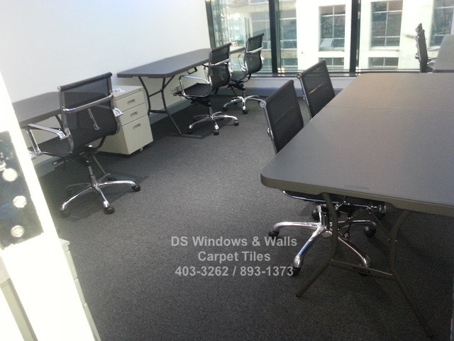 Newly installed office carpet tile