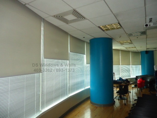 Roller Shades Over White Venetian Blinds Rcbc Tower