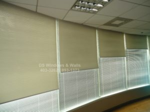 Roller shades over white venetian blinds