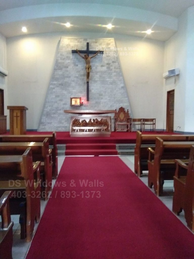Church red carpet altar and central aisle